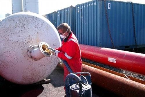 308 being sprayed in a tank