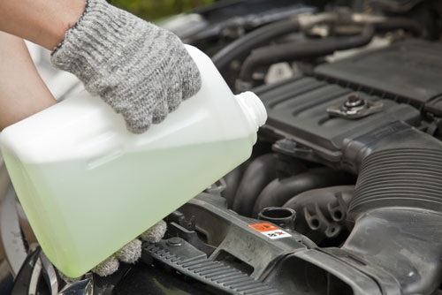 coolant being poured in car engine